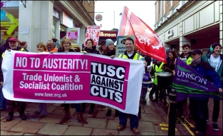 TUSC supporters on the Canterbury march to save children's centres, 15/02/14, photo Dave Semple