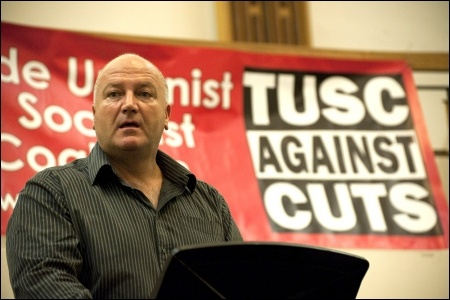 Bob Crow speaking at TUSC's 2012 London Assembly election campaign launch, photo Paul Mattsson