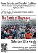 Flyer advertising the Battle of Orgreave film showing in Hackney