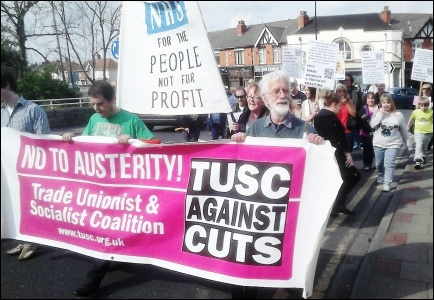 Care UK workers and supporters march in Doncaster after lobbying Ed Miliband's surgery
