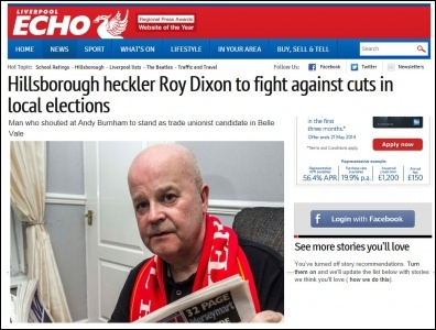 Liverpool Echo 27-4-14 Hillsborough heckler Roy Dixon to fight against cuts in local elections , photo Liverpool Echo